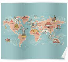 World Map illustration Poster