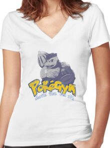 pokegym vintage Women's Fitted V-Neck T-Shirt