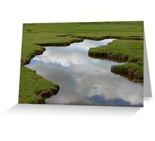 Cloud reflections in a small pool in bogland  Greeting Card