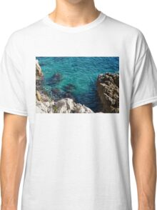 Cote D Azur - Stark White and Silky Azure Blue Classic T-Shirt