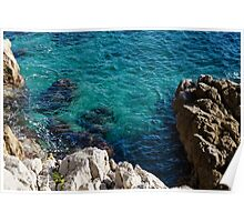 Cote D Azur - Stark White and Silky Azure Blue Poster
