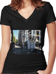 Centre Pompidou in Paris France, from a window opposite. Women's Fitted V-Neck T-Shirt