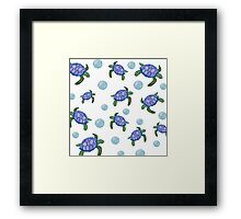 Sea Inspired pattern. Sea turtle and bubbles. Watercolour hand painted art. Framed Print