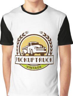 Vintage Pick Up Truck Circle Wreath Retro Graphic T-Shirt