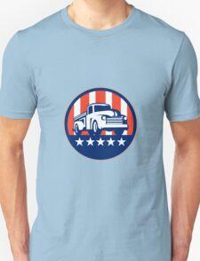 Vintage Pick Up Truck USA Flag Circle Retro Unisex T-Shirt