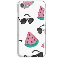 Summer Inspired pattern. Watermelon and Sunglasses. Watercolour hand painted art. iPhone Case/Skin
