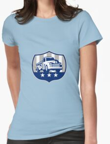 Vintage Pick Up Truck USA Flag Crest Retro Womens Fitted T-Shirt