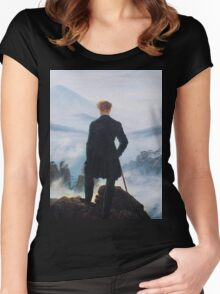 Man on edge of cliff by Caspar David Friedrich Women's Fitted Scoop T-Shirt