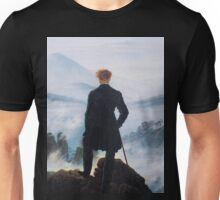 Man on edge of cliff by Caspar David Friedrich Unisex T-Shirt