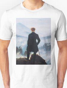 Man on edge of cliff by Caspar David Friedrich Unisex T-Shirt