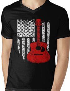 Guitar Flag Shirt Mens V-Neck T-Shirt