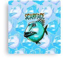 scarface fish cartoon style illustration  Canvas Print