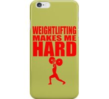 Funny Sport - Weight Lifting Makes Me Hard - red iPhone Case/Skin