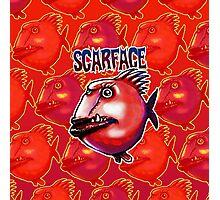 scarface fish cartoon style illustration  Photographic Print