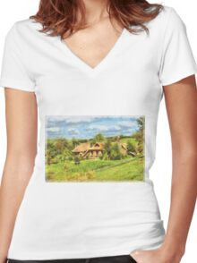Homes of the Shire Folk Women's Fitted V-Neck T-Shirt