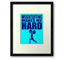 Funny Sport - Weight Lifting Makes Me Hard - blue Framed Print
