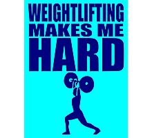 Funny Sport - Weight Lifting Makes Me Hard - blue Photographic Print