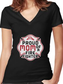 Mom - Proud Mom Of A Firefighter T-shirts Women's Fitted V-Neck T-Shirt