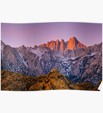 Alpenglow on Mount Whitney Poster
