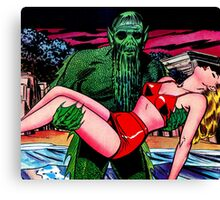 The swamp monster carrying his victim Canvas Print