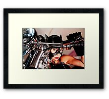 beautiful bikers catwoman Framed Print