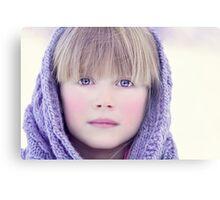 blonde girl in winter  Canvas Print