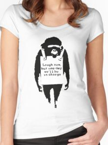 Banksy - Monkey in charge Women's Fitted Scoop T-Shirt