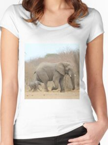 Elephant Love - Keeping up with Dad - African Wildlife Women's Fitted Scoop T-Shirt
