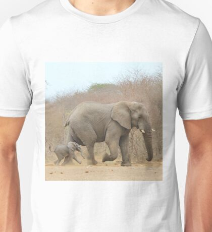 Elephant Love - Keeping up with Dad - African Wildlife Unisex T-Shirt