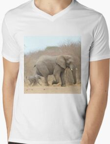 Elephant Love - Keeping up with Dad - African Wildlife Mens V-Neck T-Shirt
