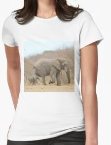 Elephant Love - Keeping up with Dad - African Wildlife Womens Fitted T-Shirt