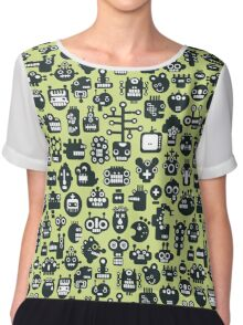 Robots faces green Chiffon Top