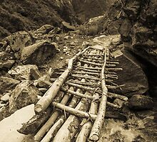 Rickety bridge - Annapurna Range - Nepal by Mark Mathieson