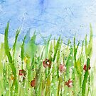 Watercolor abstract Wild flowers by Simon Rudd