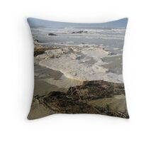 Storm Washed Beach Throw Pillow