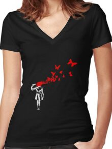 Banksy - Girl Suicide Women's Fitted V-Neck T-Shirt