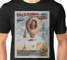 Performing Arts Posters Chas H Kabrich the only bike chute aeronaut novel and thrilling bicycle parachute act in mid air 0515 Unisex T-Shirt