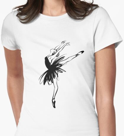 Ballerina in tutu in performance position. Womens Fitted T-Shirt
