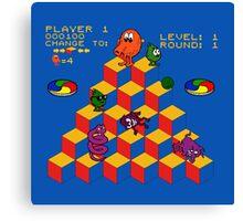 Q*Bert - Video Game, Gamer, Qbert, Orange, Blue, Nerd, Geek, Geekery, Nerdy Canvas Print