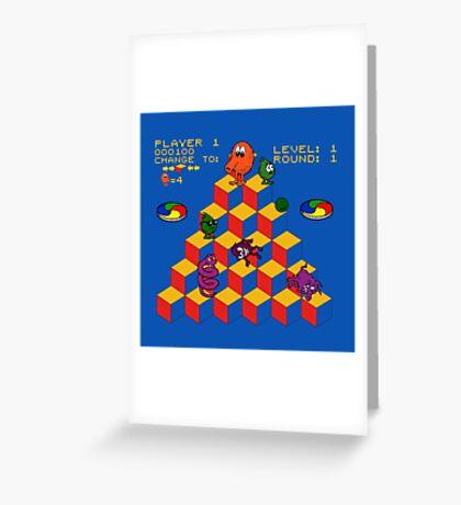 Q*Bert - Video Game, Gamer, Qbert, Orange, Blue, Nerd, Geek, Geekery, Nerdy Greeting Card