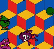 Q*Bert - Video Game, Gamer, Qbert, Orange, Blue, Nerd, Geek, Geekery, Nerdy Sticker