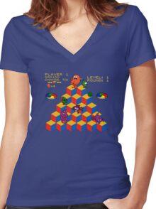 Q*Bert - Video Game, Gamer, Qbert, Orange, Blue, Nerd, Geek, Geekery, Nerdy Women's Fitted V-Neck T-Shirt