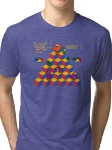 Q*Bert - Video Game, Gamer, Qbert, Orange, Blue, Nerd, Geek, Geekery, Nerdy Tri-blend T-Shirt
