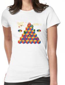Q*Bert - Video Game, Gamer, Qbert, Orange, Blue, Nerd, Geek, Geekery, Nerdy Womens Fitted T-Shirt