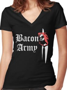 Bacon Army Women's Fitted V-Neck T-Shirt