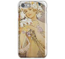 Alphonse Mucha - Flowers 1897  iPhone Case/Skin