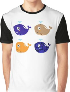 Whales, whales.. 4 floral cute whales Gift illustration / author originals Graphic T-Shirt