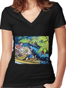 Loch Ness Monster Attack! Women's Fitted V-Neck T-Shirt