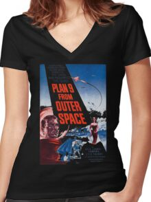 PLAN 9 from Outer Space Women's Fitted V-Neck T-Shirt