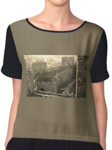 CONWY CASTLE FORTRESS NORTH WALES IN SEPIA Chiffon Top